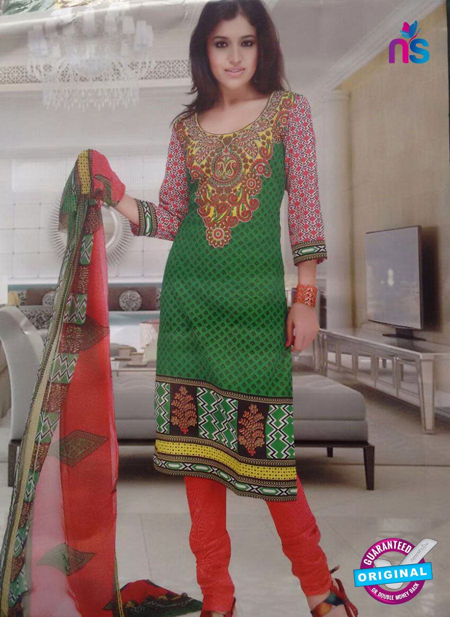 NS10096 Green and Orange Cotton Suit