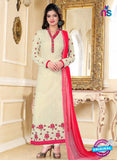 SC 13146 Beige and Magenta Party Wear Georgette Straight Suit