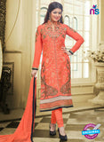 SC 13028 Peach Embroidered Heavy Georgette Party Wear Long Straight Suit