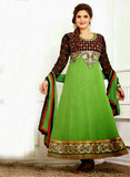 NS11947  Blue Yellow and GreenYellow Georgette Anarkali Suit