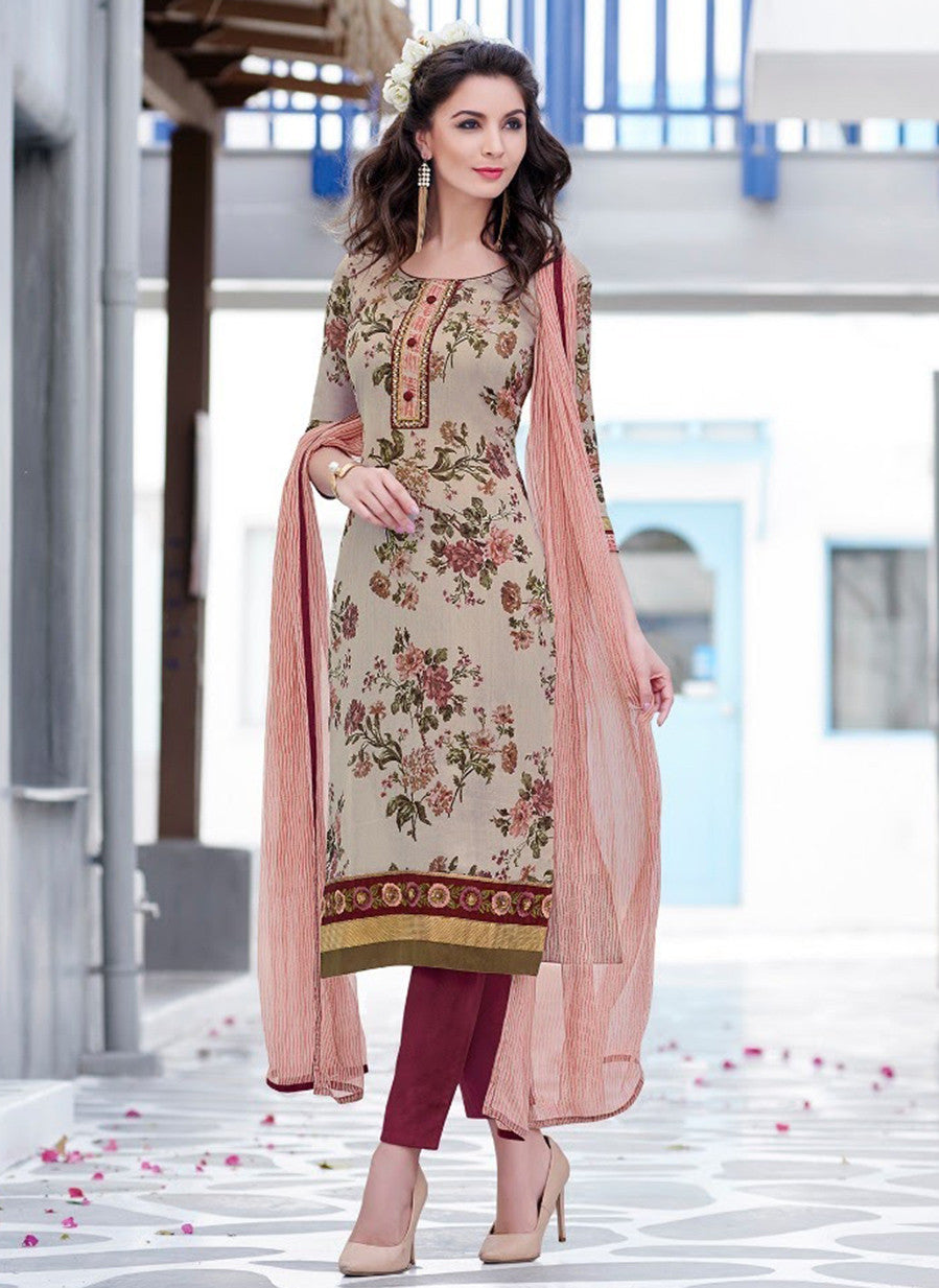 Teazle 2007 Beige & Maroon Color Glace Cotton Designer Suit