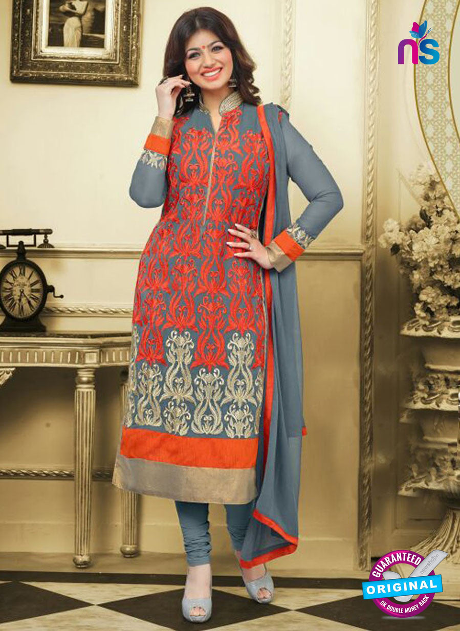 SC 13030 Grey and Red Embroidered Heavy Georgette Party Wear Long Straight Suit