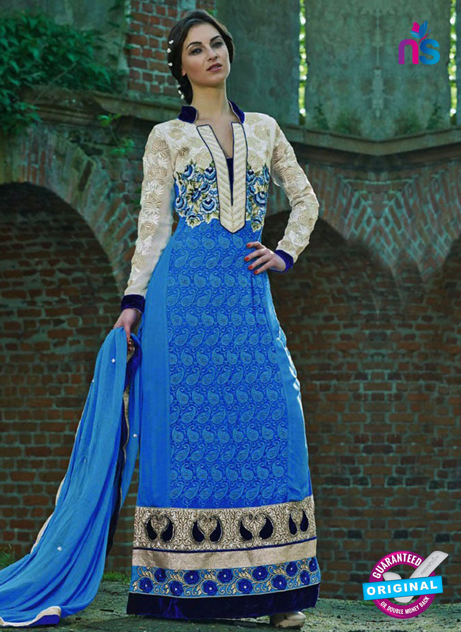 NS12035 Blue and White Designer Suit