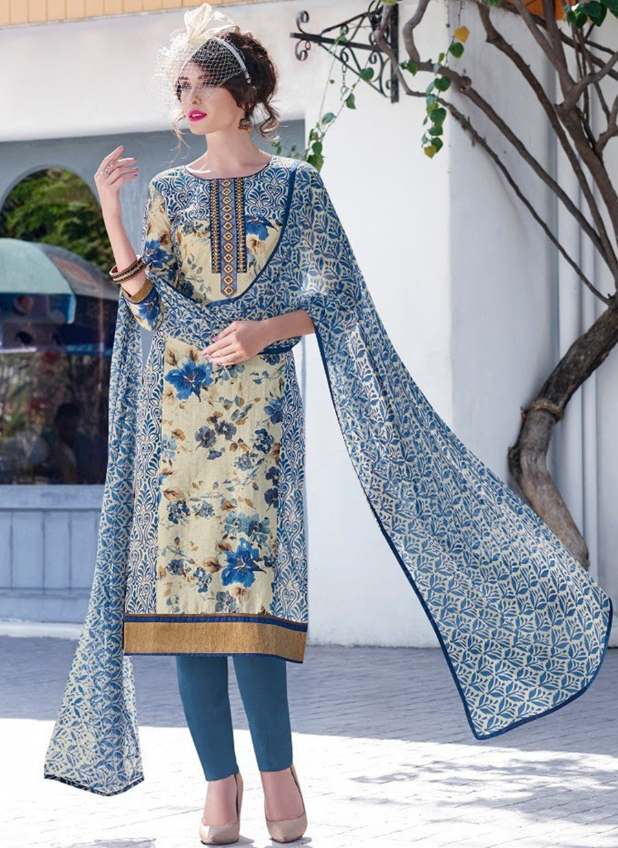 Teazle 2008 Blue Color Glace Cotton Designer Suit