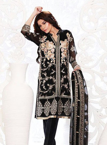 NS11653  Black Color Georgette Designer Suit