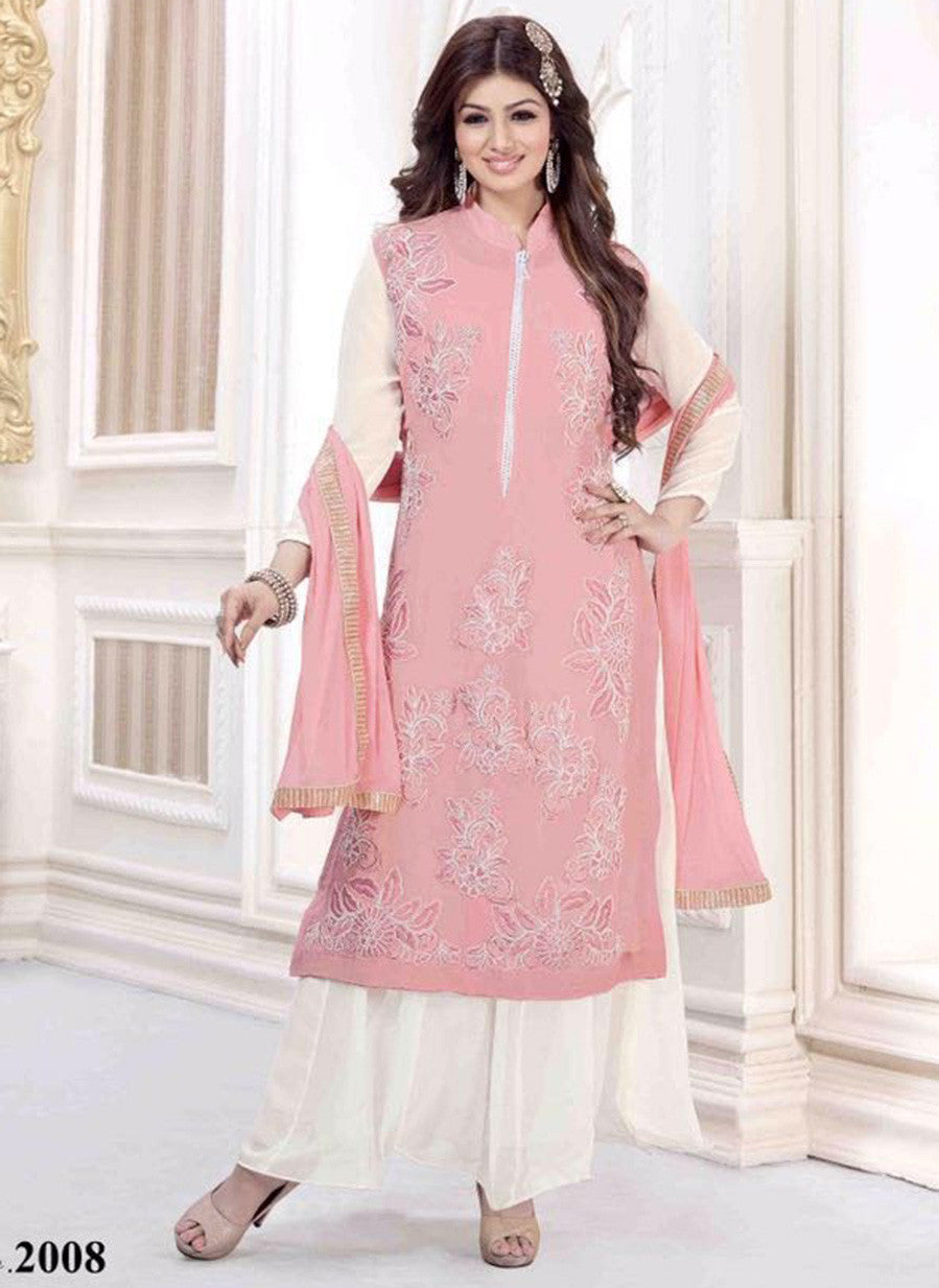 NS11489  Peach & White Color Georgette Designer Suit