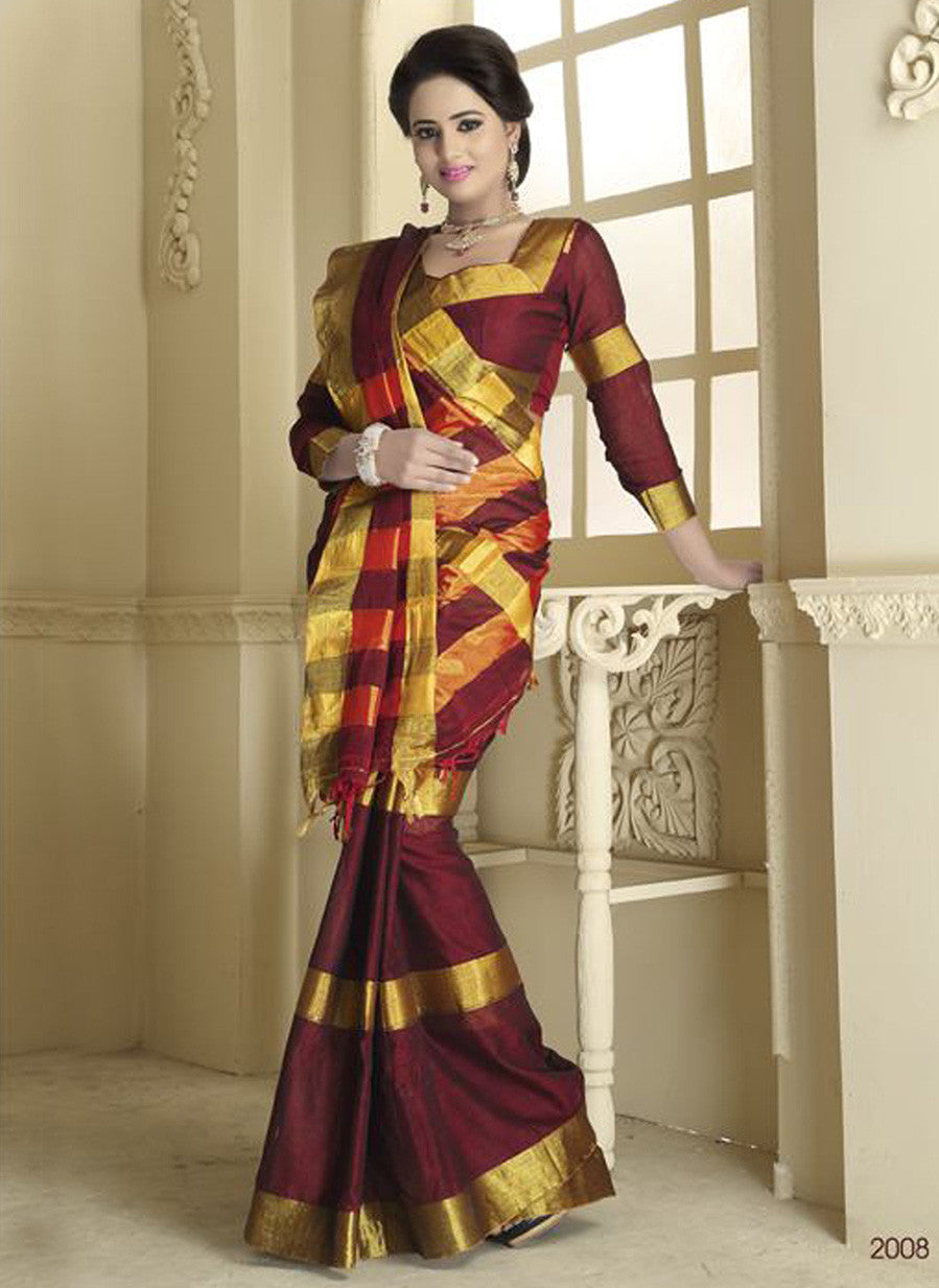 Tamanna 2008 Maroon and Multicolor Daily Wear Traditional Cotton Saree