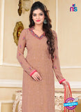 SC 13147 Brown and Pink Party Wear Georgette Straight Suit