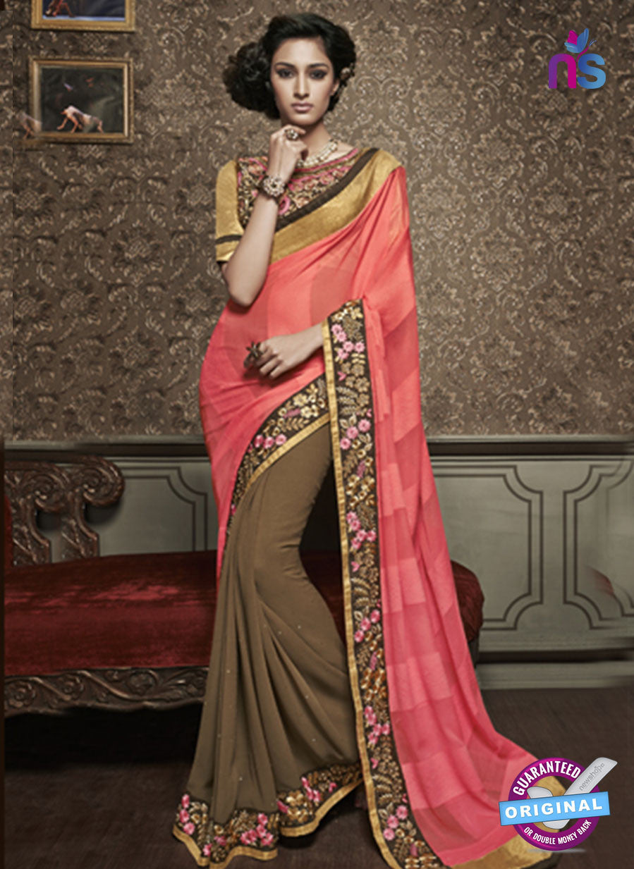 NS10601 Party Wear, Pink and Brown Georgette Saree