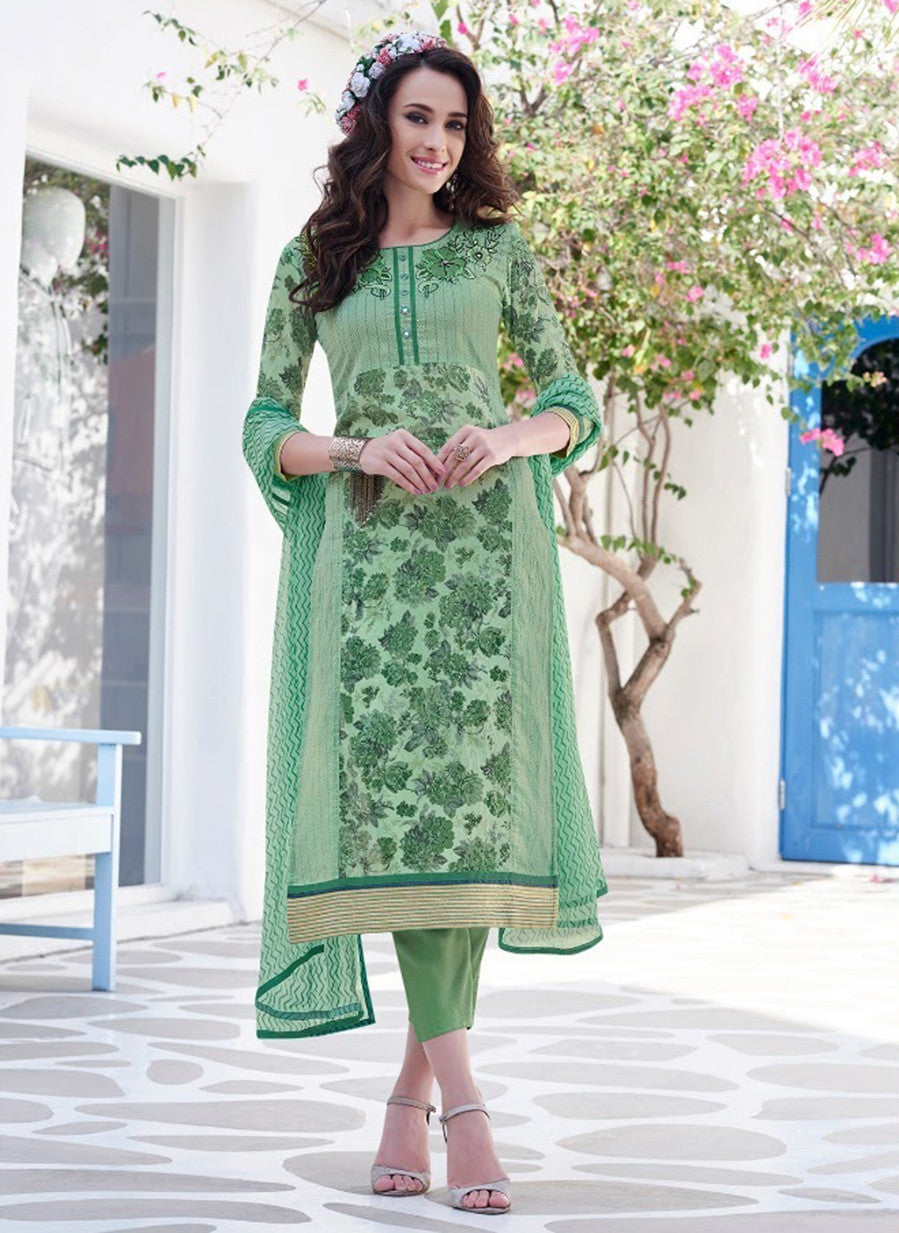 Teazle 2009 Green Color Glace Cotton Designer Suit