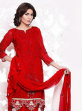NS11655  Red Color Georgette Designer Suit