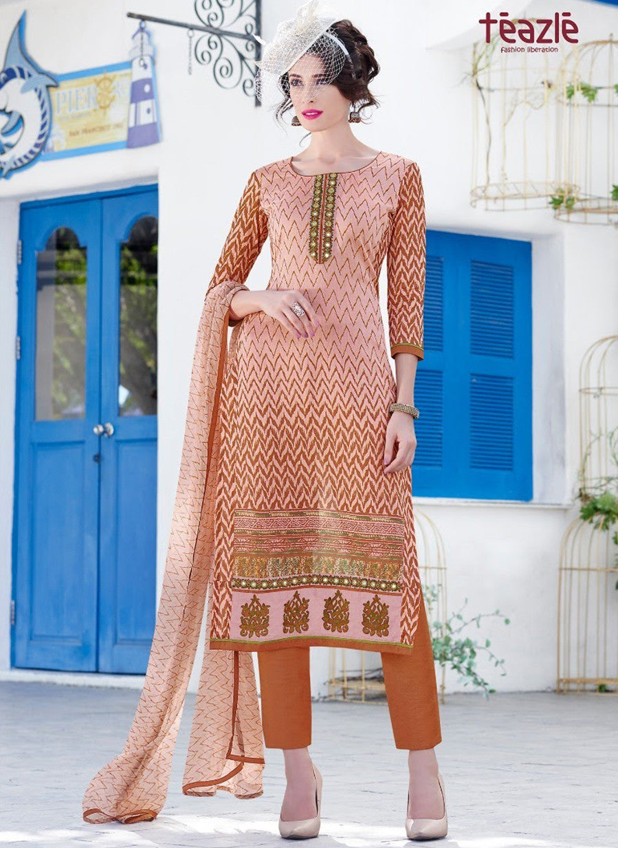 Teazle 2010 Orange Color Glace Cotton Designer Suit