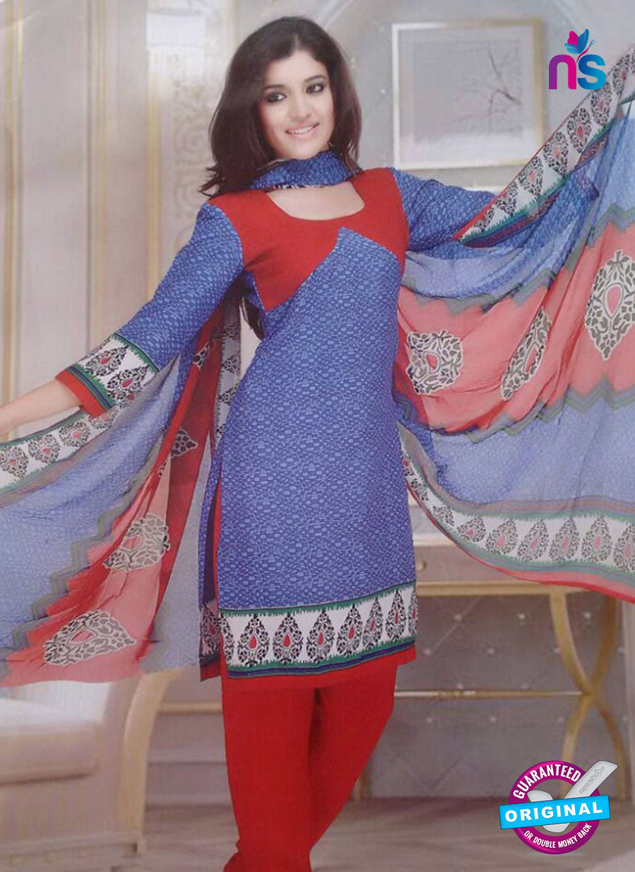 NS10097 Purple and Red Cotton Suit