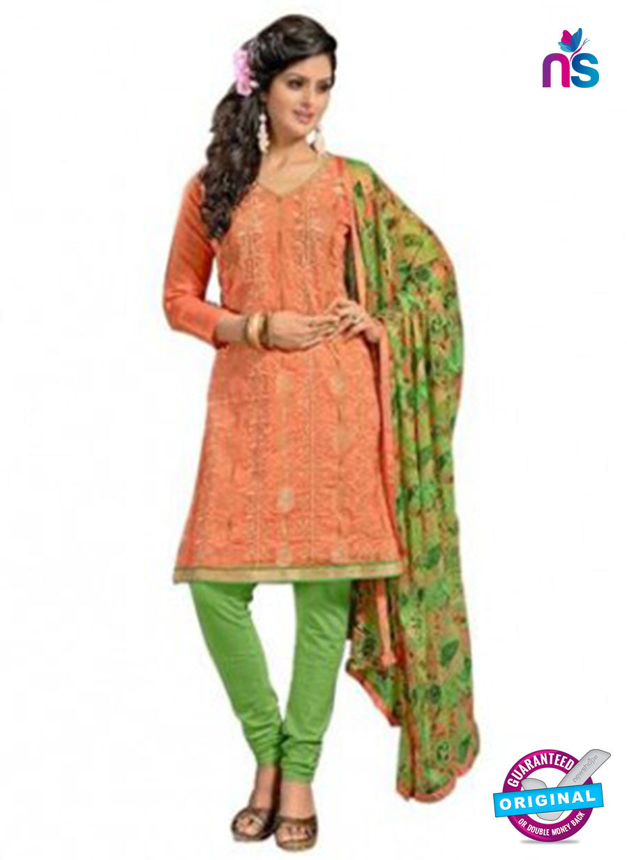 NS12039 Orange and Green Chanderi  Suit