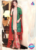 NS11168 Green and Beige Party Wear Faux Georgette Salwar Suit