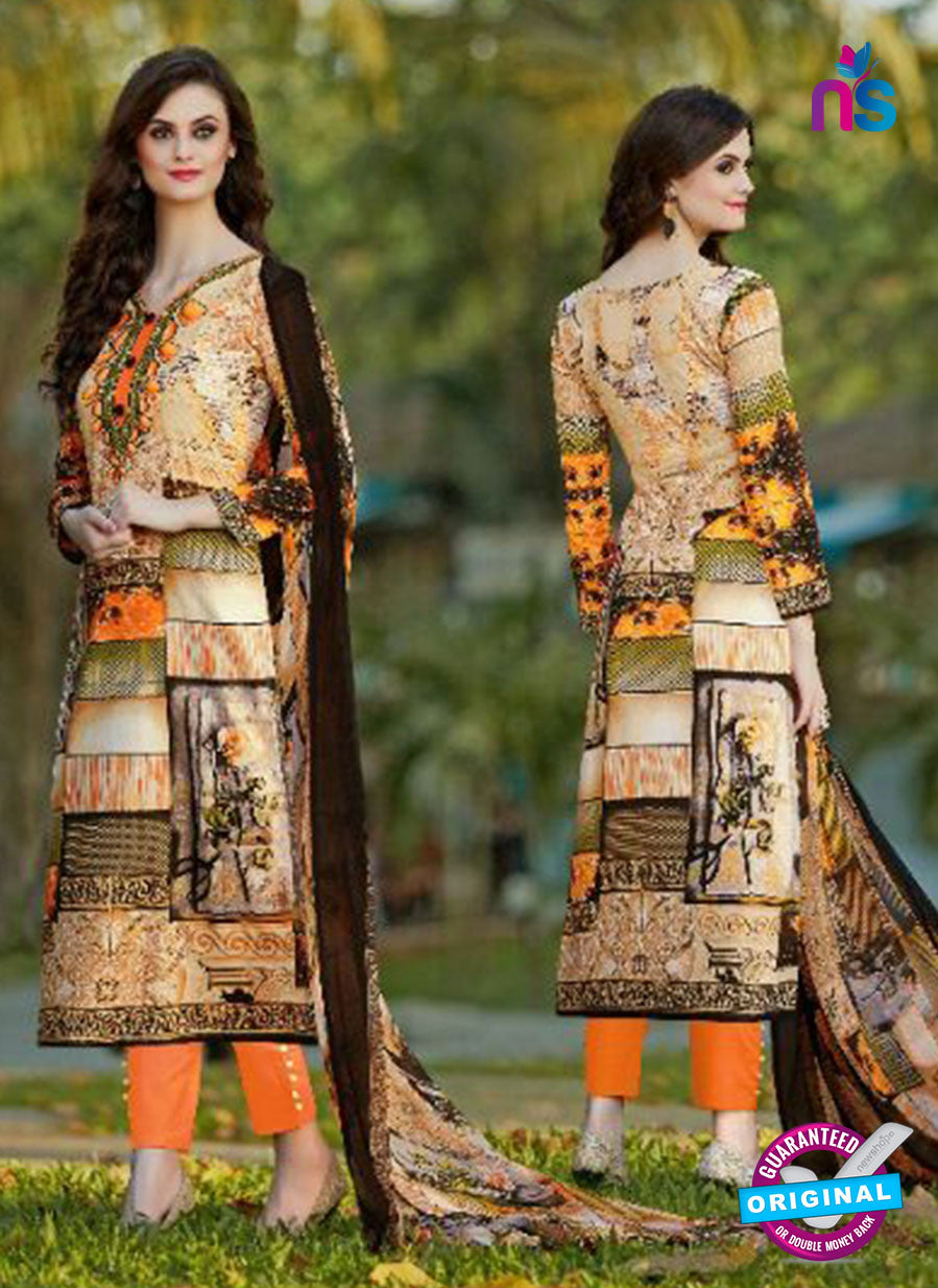 SC 13603 Orange and Multicolor Designer Fancy Exclusive Un-stitched Straight Suit