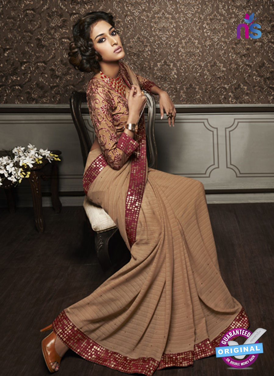 NS10602 Party Wear Brown Georgette Saree