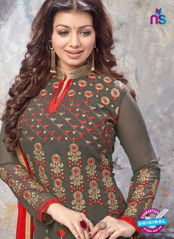 AZ 5214 Grey and Red Georgette Designer Straight Suit