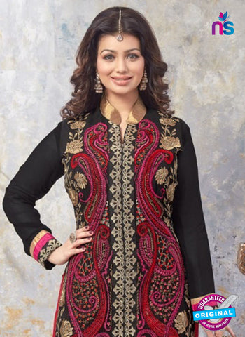 AZ 5216 Black and Red Georgette Designer Straight Suit