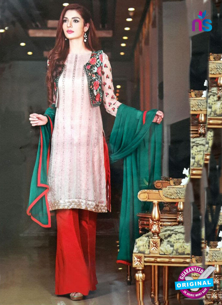 NS11171 White and Red Party Wear Faux Georgette Salwar Suit