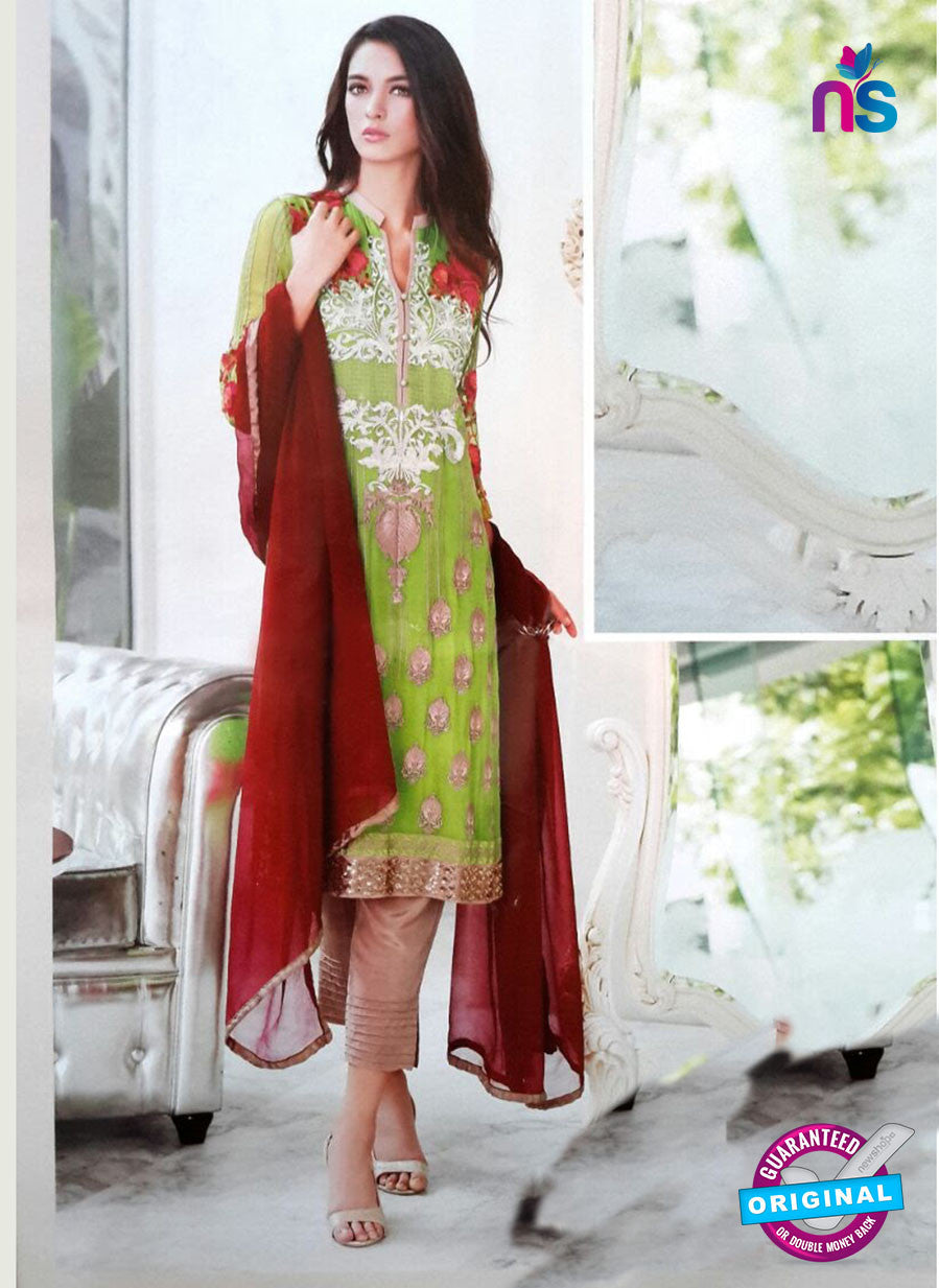 NS11172 Green and Brown Party Wear Faux Georgette Salwar Suit