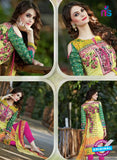 SC 13598 Green and Magenta Designer Fancy Exclusive Un-stitched Straight Suit