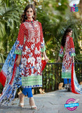 SC 13599 Red and Blue Designer Fancy Exclusive Un-stitched Straight Suit