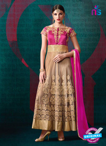 AZ 3384 Pink And Beige Banglori Silk and Net Fancy Designer Anarkali Suit