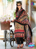 SC 12652 Beige and Black Printed Cambric Pakistani Suit