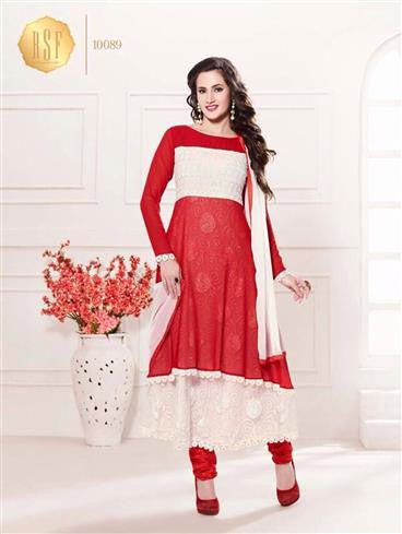 NS11912  White and Red Party Wear Georgette Anarkali Suit