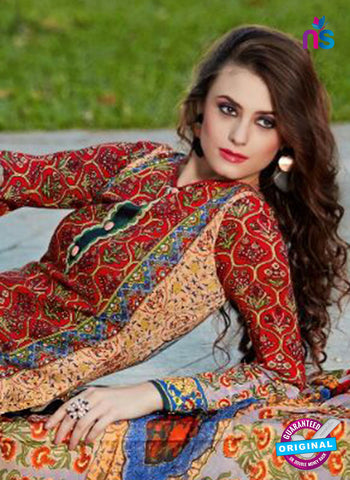 SC 13594 Red and Multicolor Designer Fancy Exclusive Un-stitched Straight Suit