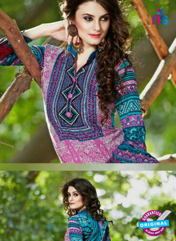 SC 13600 Pink and Sea Green Designer Fancy Exclusive Un-stitched Straight Suit