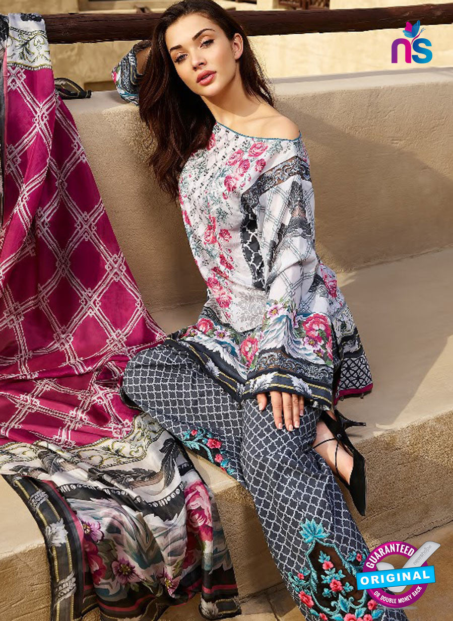 SC 12829 Black, Grey and Pink Camric Cotton Printed Pakistani Suit