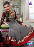 NS12043 Grey and Black Anarkali Suit