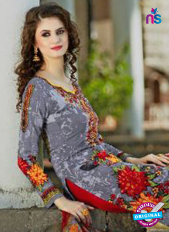 SC 13596 Grey and Red Designer Fancy Exclusive Un-stitched Straight Suit