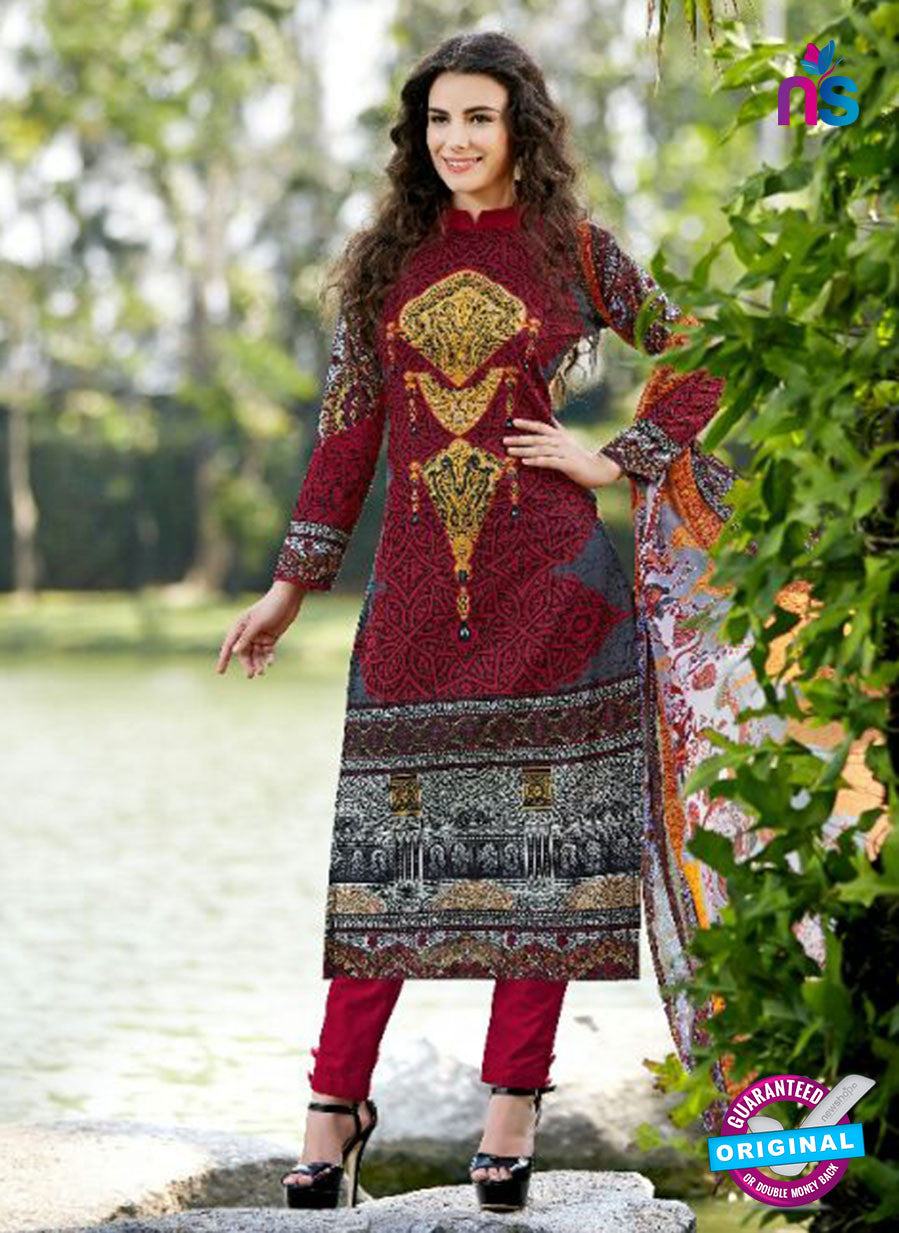 SC 13597 Maroon and Multicolor Designer Fancy Exclusive Un-stitched Straight Suit