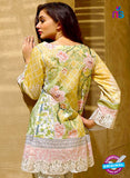 SC 12834 Yellow and Pink Camric Cotton Printed Pakistani Suit
