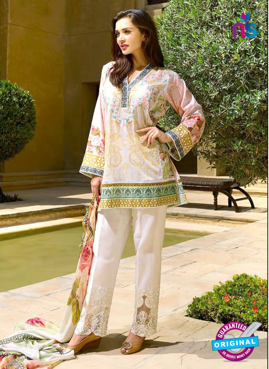 SC 12831 Beige and Multicolor Camric Cotton Printed Pakistani Suit