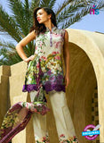 SC 12832 Purple and Green Camric Cotton Printed Pakistani Suit