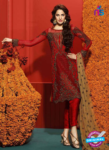 Asim Jofa 2028 Maroon Semi Georgette Party Wear Suit