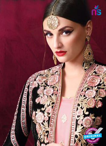 AZ 3385 Pink And Black Georgette Fancy Designer Indo Western Suit