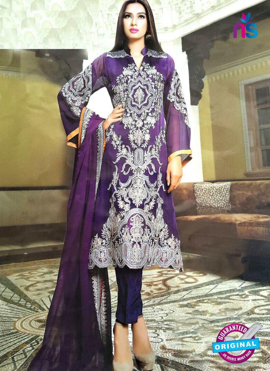 NS10179 Purple and White Party Wear faux Georgette Pakistani Suit