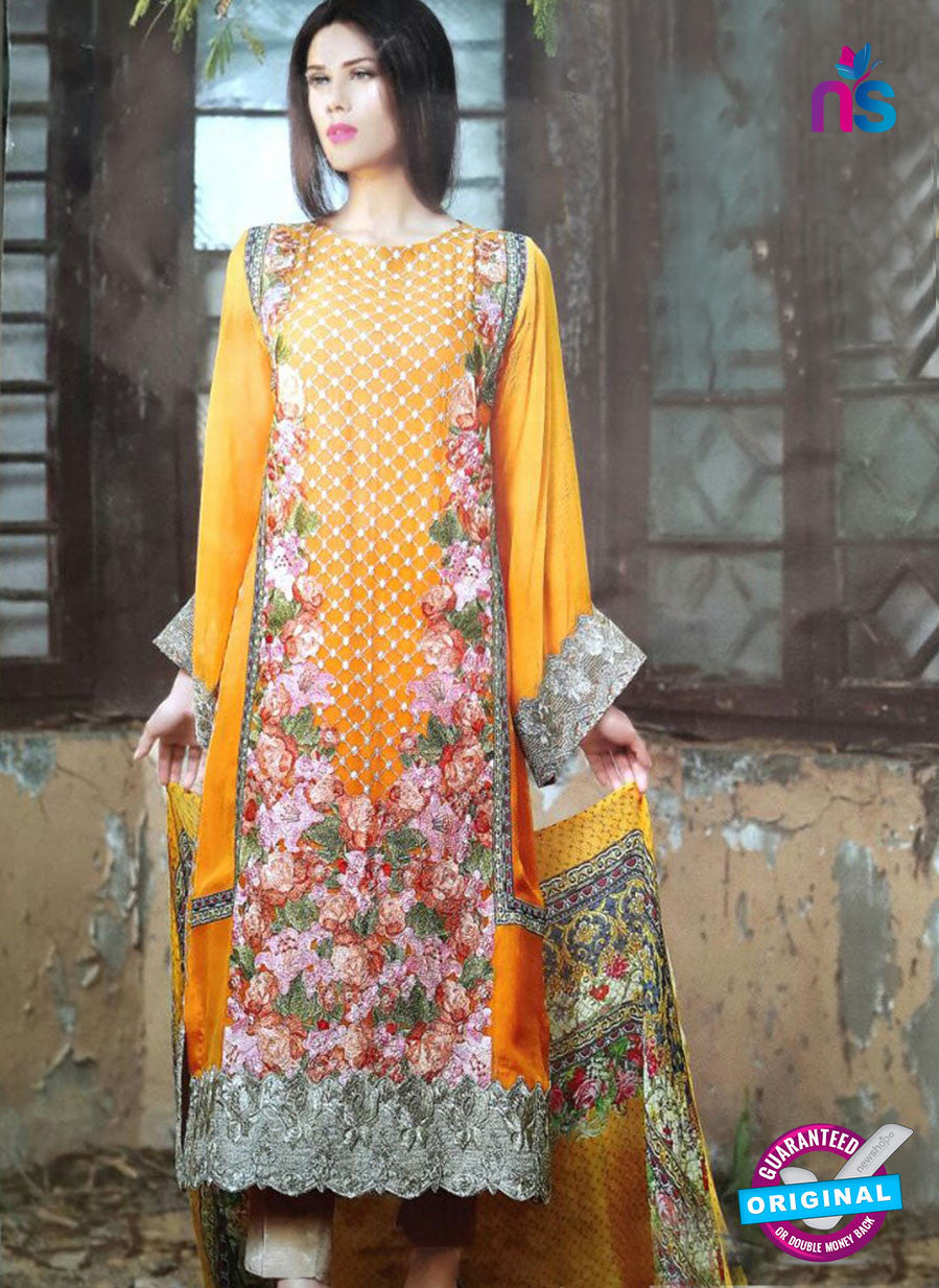 NS10183 Orange and Multicolor Party Wear faux Georgette Pakistani Suit