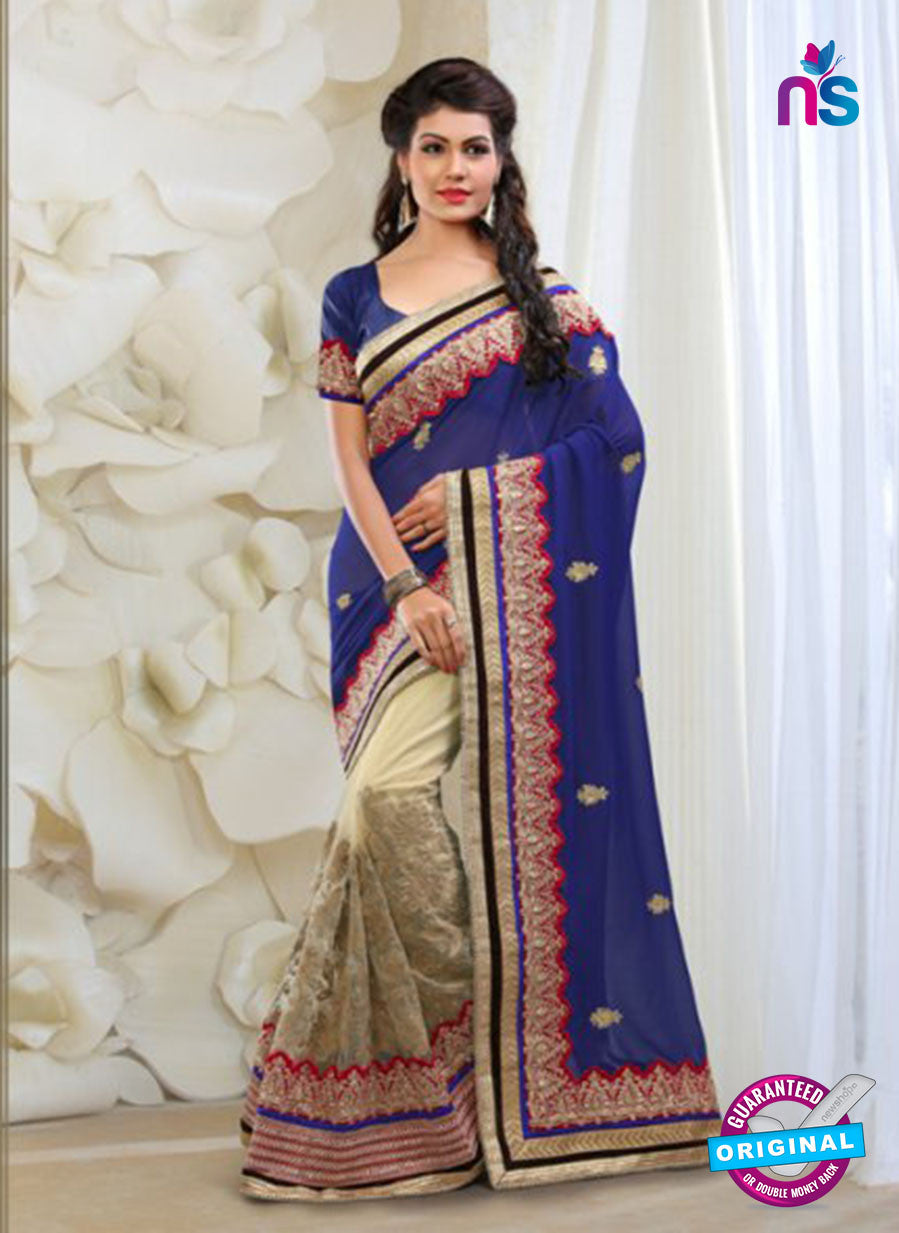 AZ 2026 Blue and Beige Net Fancy Party Wear Saree