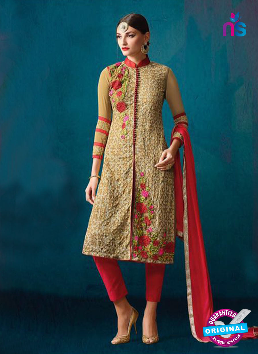 AZ 3386 Brown And Red Georgette Fancy Designer Party Wear Suit