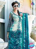 SC 12653 Beige and Blue Printed Cambric Pakistani Suit