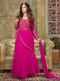 NS11902  Deep Magenta Silky Net and Georgette Designer Gawn