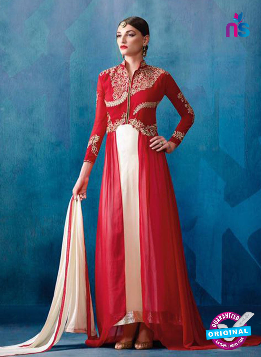 AZ 3387 Red And White Georgette Fancy Designer Indo Western Suit