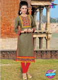 NS10141 Gray and Red Cotton Jacqard Kurti