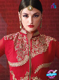 AZ 3387 Red And White Georgette Fancy Designer Indo Western Suit - Salwar Suits - NEW SHOP